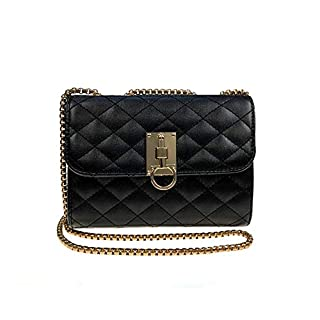 Classic Diamond Lattice PU Leather Crossbody Shoulder Bag for Women Quilted Purse With Metal Chain Strap (Albe-E)