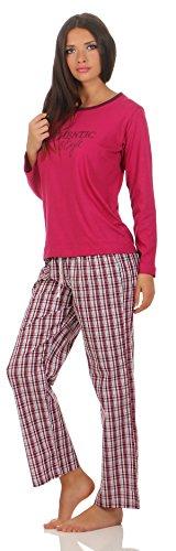 Magnolie Damen Schlafanzug 48/50-XL uni pink mit Druck Hose Karodesign damen lange Nachtwäsche gestreift geringelt damen 48 50 schlafanzug für damen sexy günstiger billiger preiswerter (Gestreiften Pink Pyjama)