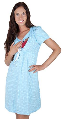 2 en 1 Maternité et soins / allaitement 100% coton robe de nuit chemise de nuit 7002 (EU 40, Bleu)