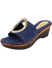 Catwalk Blue Slip-On Sandals for Women