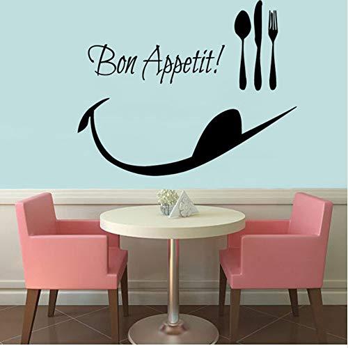 Guten Appetit Löffel Folk Wandtattoos Dekor Abnehmbare Vinyl Wandaufkleber Wasserdichte Küche Dekoration 52 * 43 cm -