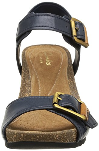 Clarks Overly Sparkle, Sandales compensées femme Bleu (Navy Leather)