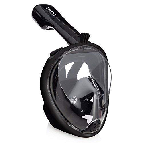 Emsmil Tauchmaske Schnorchelmaske Vollmaske mit 180 Grad Betrachtungsfläche Anti Fog Anti Leak Easybreath Belüftungsschlauch für Schwimmen und Tauchen Kinder Erwachsene Schwarz