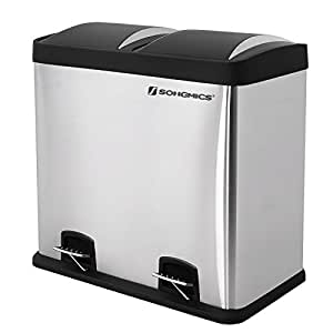 songmics recycle bin pedal bin 48 litre large waste separation system for kitchen stainless. Black Bedroom Furniture Sets. Home Design Ideas