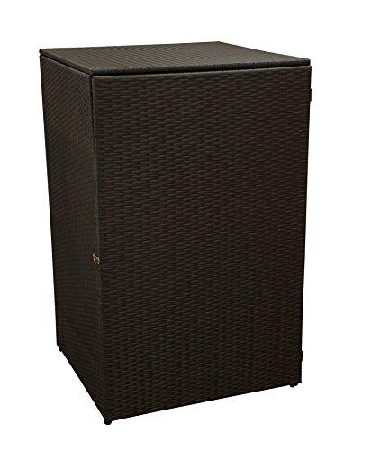 *gartenmoebel-einkauf Mülltonnenbox für Tonnen bis 120 Liter, 64x66x109cm, Stahl + Polyrattan Geflecht Mocca*
