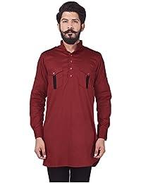 Veera Paridhaan Men's Party Wear Cotton Red Solid Pattern Kurta
