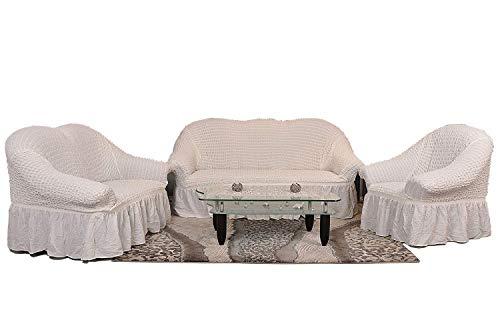 Stretch Sesselschoner, Sesselbezug, Sesselhusse aus Baumwolle & Polyester in weiss. Sofaueberwurf / Sofabezug / Sofahusse / Elastisch Husse