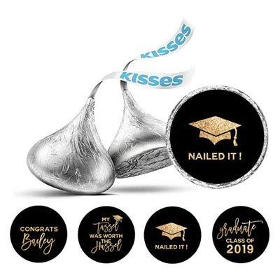 Darling Souvenir Hershey Kisses Süßigkeit Partei-Bevorzugung Abschluss-Thema Aufkleber 190 Stück-Schwarz-Goldene