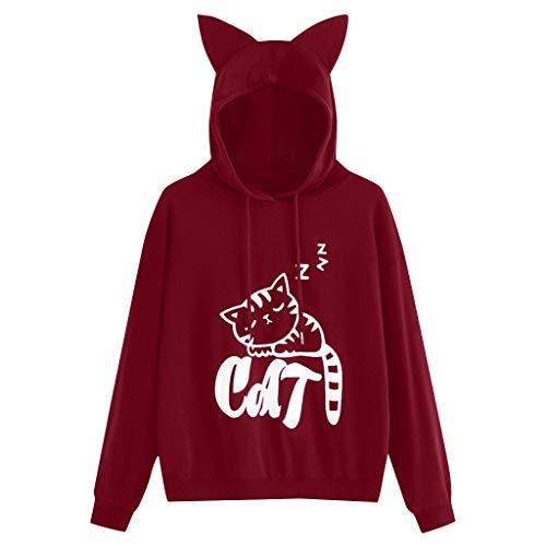 Print Langarm Hoodie Sweatshirt Kapuzenpullover Tops Bluse ()