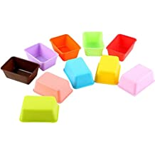 Leisial 10pcs de Silicona del Molde de la Torta Molde de Gelatina Moldes de Jabón Color al Azar-Forma de Rectángulo