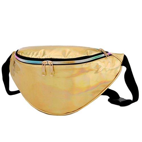 Longra La raccolta del raccoglitore della borsa esterna della spiaggia del sacchetto del messaggero della tasca del laser delle donne Giallo