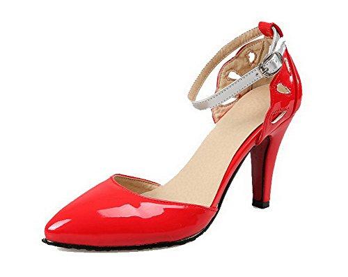 d2eef4e44dfcc8 AllhqFashion Damen Lackleder Spitz Zehe Hoher Absatz Schnalle Gemischte  Farbe Pumps Schuhe Rot liH7RtyFDJ