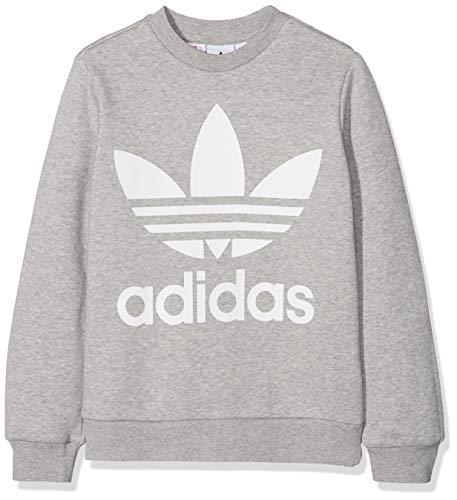 adidas - Molleton - Sweat-Shirt - Mixte Enfant - Gris (Gris/Blanc) - FR: 9-10 ans (Taille Fabricant: 140)