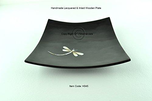 Fait à la main en bois laqué incrusté avec plaque egg-shell incurvée, forme carrée, Assiette décorative et servir, Petite Taille, Noir, h045s