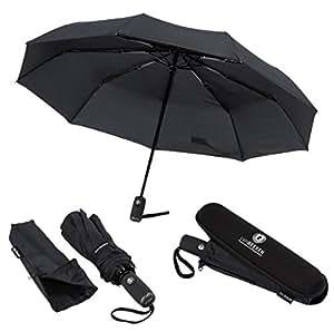 Regenschirm Taschenschirm | VAN BEEKEN – windtest bei 140 km/h, wasserabweisende Teflon-Beschichtung, klein, leicht & kompakt - stabiler Schirm mit voll-automatischer Auf-Zu-Automatik, schwarz 95 cm