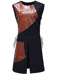 Chaqueta de Hombre de BaZhaHei, Hombre de Tops Party Chaleco de Cuero Medieval con Cordones