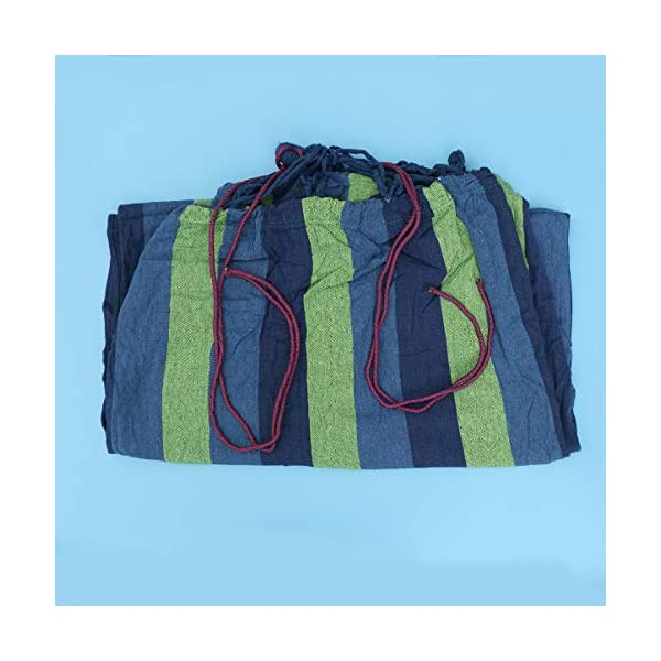 BESPORTBLE Outdoor Canvas Hammocks Anti-roll Leisure Foldable Stripe Swing for Camping Backpacking Travel 190x150cm Blue BESPORTBLE Foldable, easy to use and convenient to carry. Only to fold your hammock, you can carry it conveniently. The hammock is made of premium material which is very comfortable and durable for use, and features stripes pattern. 7