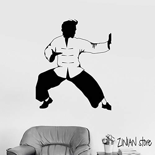 guijiumai Kung Fu Wandtattoos Kämpfer Oriental Martial Wandaufkleber Für Schlafzimmer Kunst Karate Dekoration Wandkunst Wand rot 42x50 cm