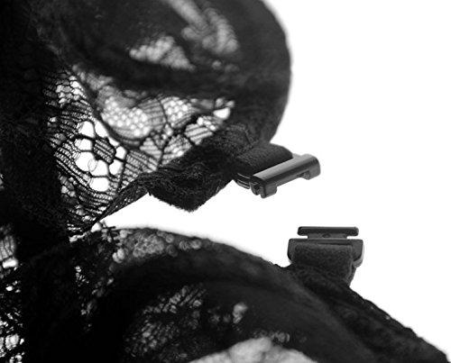 GAZHFERF Frauen Schnüren Sheer Durchsichtig Unterwäsche BH Set Black