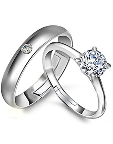 Karatcart Platinum Plated Austrian Crystal Elegant Couple Adjustable Band Ring For Men & Women