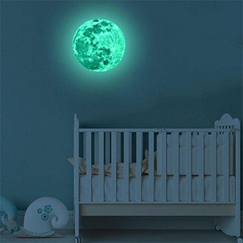 Ashop adesivi muro camera da letto adesivi muro camera da letto adesivo murale fluorescente luna grande 3d adesivo rimovibile glow in the dark (5 cm, verde)