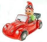 Zwerg Gartenzwerg Verkehrsrowdy 36 cm PVC Garten Figur im Auto rot