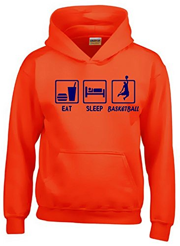 EAT SLEEP BASKETBALL Kinder Sweatshirt mit Kapuze HOODIE orange-navy, Gr.140cm -