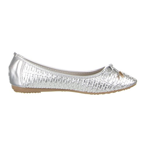 Damen Schuhe, 564-1, BALLERINAS Silber