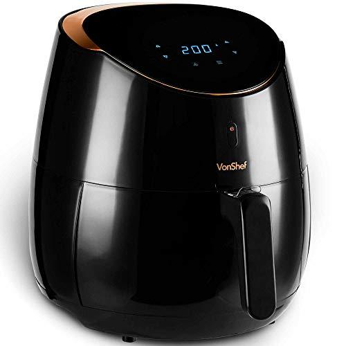 VonShef 5L Airfryer Heißluftfritteuse 2000 W Digital für gesundes und fettarmes Kochen, Multifunktionale Fritteuse, LCD Anzeige - Frittieren, Backen, Braten & Aufwärmen 80-200°C,
