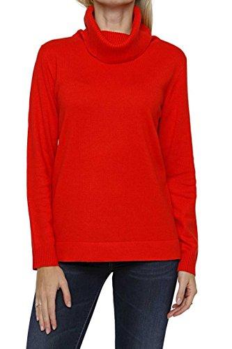 Lai La New York Damen Pullover Kaschmir Seiden Rollkragenpullover Pure Cashmere MARIA, Farbe: Rot, Größe: 38
