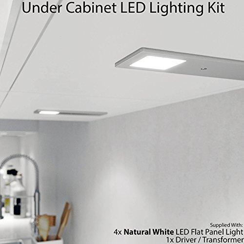 4x 5W LED Küche Slimline Badezimmerschrank Panel Spot Beleuchtung & Treiber Kit gebürstetem Nickel-Finish, Natural weiß–Down unter Schrank–Cablefinder (4-panel-natural Finish)