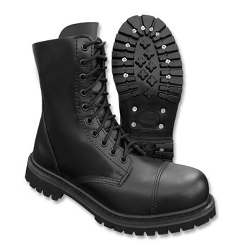 (Mil-Tec - Invader 10 Loch Stiefel Boots Schwarz Stahlkappe Leder Schuhe Ranger Größe 38 (UK4))