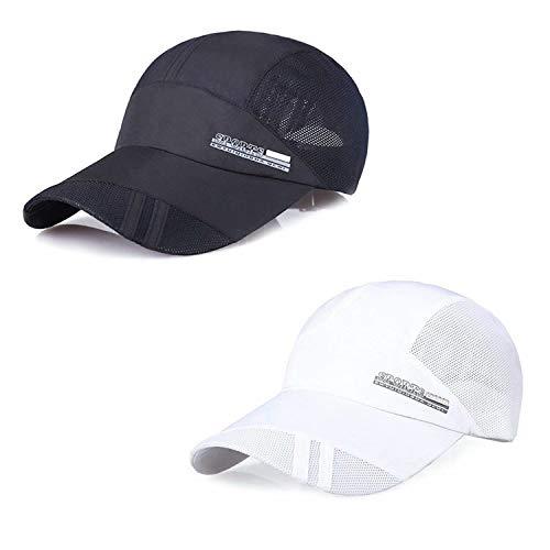 TAGVO Mesh Baseball cap, 2 Pack Summer Mesh Traspirante Quick Drying Sun Hats Unisex Running Visor cap con Fibbia Regolabile Chiusura