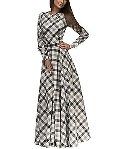 Femme Maxi Robe Vintage Manches Longues Treillis Imprimé Robe de Soirée Blanc XL