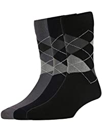 Peter England Men's Cotton Full Length Socks (Grey, Blue, Black, Free Size) Pack of 3