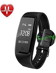 Pulsera Actividad de la Aptitud con el Monitor del ritmo cardíaco, bluetooth elegante Pulsera impermeable Perseguidor de la actividad del podómetro del deporte con el monitor del ritmo cardíaco / el perseguidor del paso / el contador de la caloría ,Compatible con iOS, Android Smartphone