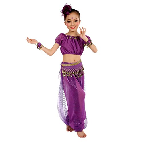 (FNKDOR Fasching Mädchens Tüll Kleid Kostüm Ägypten Bauchtänzerin Pailletten Kinder Karneval Kostüme (Höhe 140 Cm, Violett))