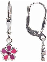 Bijoux Boucles d'oreille pour les enfants argent 925 fleurs 21 x 6.5 mm