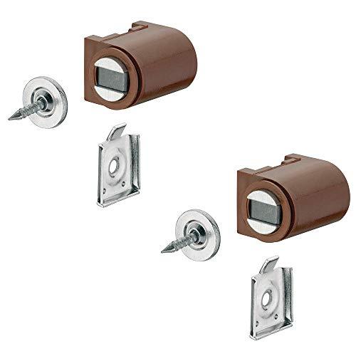 Preisvergleich Produktbild Magnetverschluss braun mit Anschraubplatte Magnetschnapper Tür zum Schrauben - H2059 / Türmagnet Haftkraft 4, 0 kg / MADE IN GERMANY / Halte-Magnet rund / 2 Stück - Möbelmagnet mit Gegenplatte