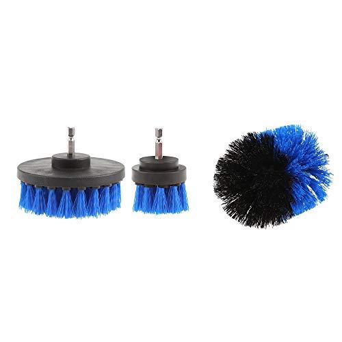 Bohrmaschinenreinigung Nylonbürste Steife Borsten Akku-Bohrmaschine Spinnbürste Hochleistungsbürsten-Kit für 3 Bürsten (Color : Blau) (Bohrmaschine Und Auswirkungen)