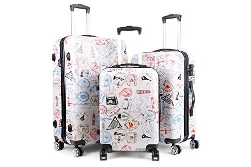Hartschalenkoffer mit Motiv Trolley Koffer Reisekoffer TSA-Schloss mit Zwillingsrollen (Sign, dreiteilig)