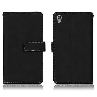 Wendapai Sony Xperia Z5 Schutzhülle PU Leder Brieftasche Hülle Flip Kartenschlitz Function Ultra Folio Flip schlank Karte Holder Hülle Hülle Cellphone Case zum Sony Xperia Z5 (Black)