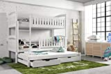Modern Kids Children Wooden Solid Pine Bunk Trundle Bed BLANKA With Storage Drawers in White with Mattresses sold by Arthauss