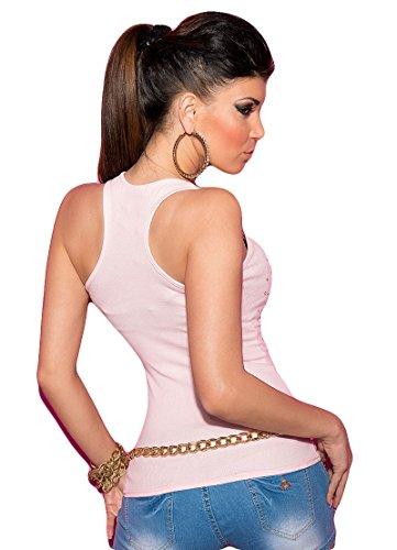 Sexy Damen Tanktop, Feinrippshirt in vielen Trendfarbe, Einheitsgröße (32-38) Rosa