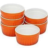 COM-FOUR® 6x Ragout Fin Schalen, Auflaufform, Pastetenförmchen, Creme Brulee Schälchen in orange, 185 ml je Schale (06 Stück - 185 ml orange)