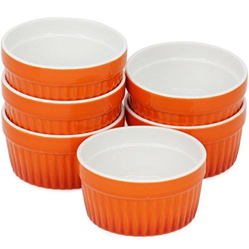 COM-FOUR® 6x Ragout Fin Schalen, Auflaufform, Pastetenförmchen, Creme Brulee Schälchen in orange, 185 ml je Schale Orange Ramekin