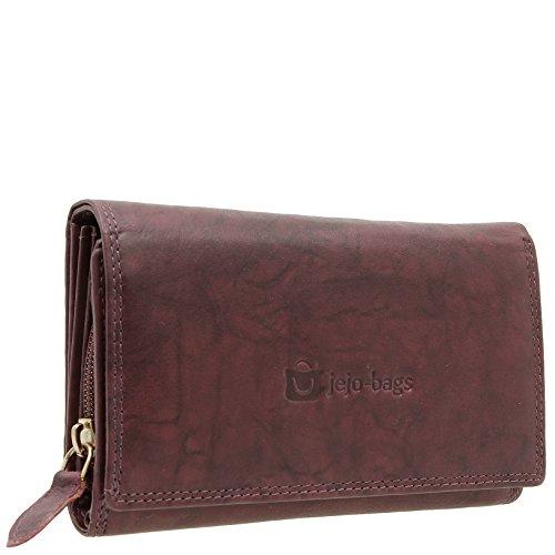 Damen Portemonnaie Große Geldbörse Geldbeutel für Frauen Echt-Leder Portmonee mit RFID Schutz in 5 Farben von jejo-bags … (Bordeaux)