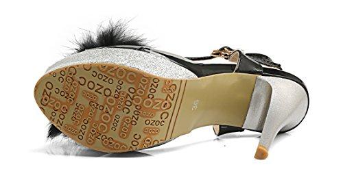 UH Sandales Femmes à Talon Haut Bout Pointu de Boucle de Bride Cheville avec la Plateforme Noir