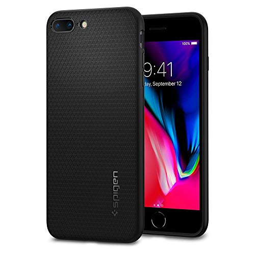 iPhone 8 PLUS / 7 PLUS Hülle, Spigen® [Liquid Air] iPhone 8 PLUS Hülle, Soft Capsule [Schwarz] Luftpolster-Technologie Handyülle - Soft Flex Premium-TPU Schutzhülle für Apple iPhone 7 PLUS Hülle / iPhone 8 PLUS Case Cover - Black (043CS20525)