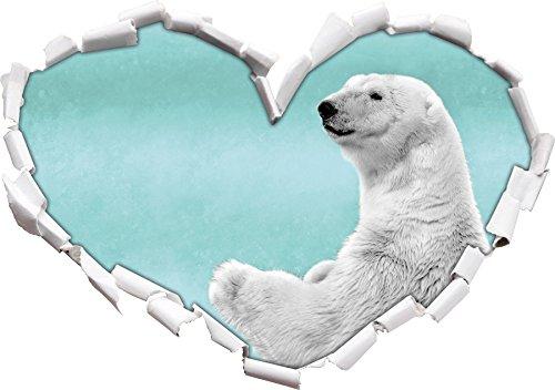 orso polare di peluche in / a forma di cuore bianco della neve nero in formato sguardo, parete o adesivo porta 3D: 92x64.5cm, autoadesivi della parete, decalcomanie della parete, Wanddekoratio - Orso Regalo Ornamento